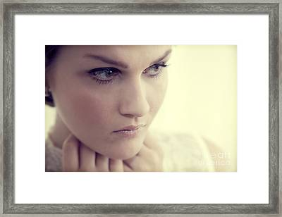 Young Elegant Woman In Glamour Fashion Framed Print by Michal Bednarek