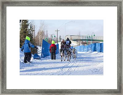Young Fans Of Mushers Framed Print by Tim Grams