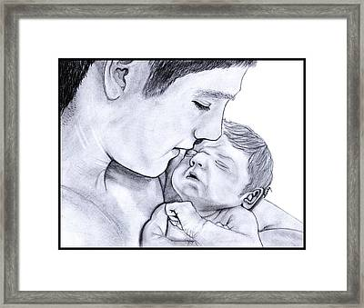 Young Father Framed Print by Saki Art
