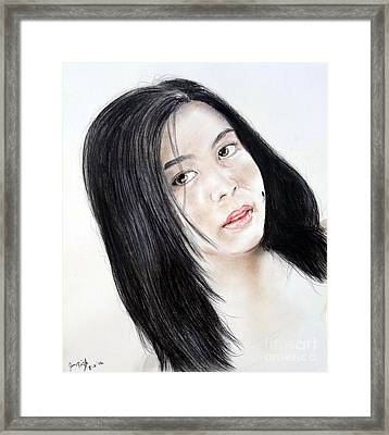 Young Filipina Beauty With A Mole On Her Cheek Model Kaye Anne Toribio Framed Print by Jim Fitzpatrick