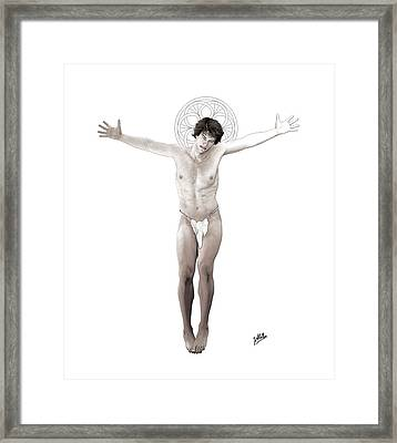 Young Crucified Framed Print by Quim Abella