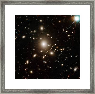 Young Galaxy Lensed By Cluster Abell 383 Framed Print by Nasa/esa/stsci/j. Richard (observatory Of Lyon)/j.-p. Kneib (astrophysical Laboratory Of Marseille)