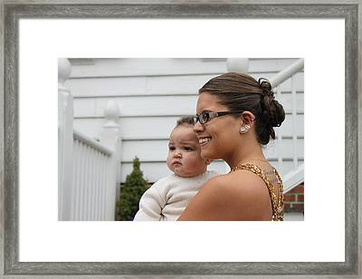 Young Girl And Baby Framed Print by Carolyn Ricks