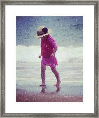 Young Girl At The Beach Framed Print by Patricia Januszkiewicz