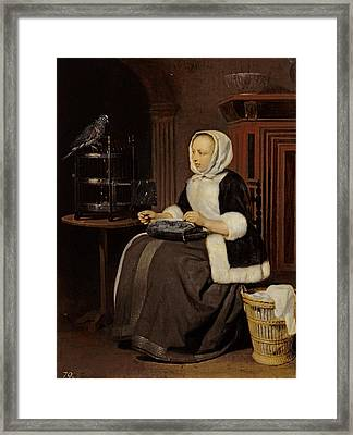 Young Girl At Work Framed Print