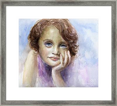 Young Girl Child Watercolor Portrait  Framed Print