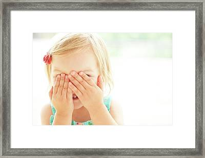Young Girl Covering Face With Hands Framed Print by Ian Hooton