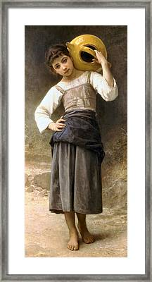 Young Girl Going To The Fountain Framed Print by William Bouguereau