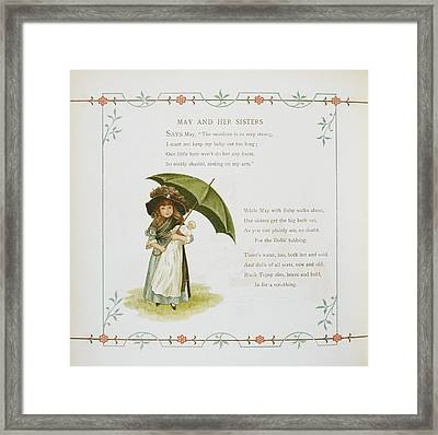 Young Girl Holding An Umbrella Framed Print by British Library