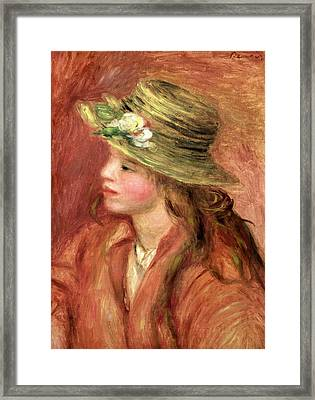 Young Girl In A Straw Hat Framed Print