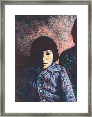 Young Girl In Blue Sweater Framed Print by Kendall Kessler
