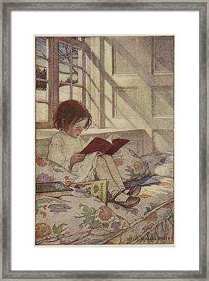 Young Girl Reading A Book Framed Print