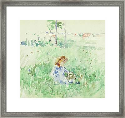Young Girl Seated On The Lawn Framed Print by Berthe Morisot