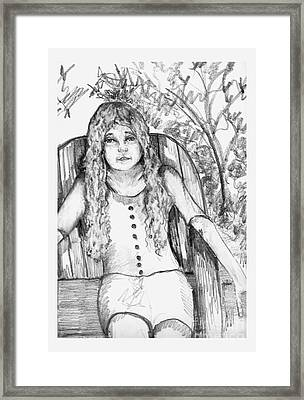 Young Girl Sitting On Lawn Chair Framed Print
