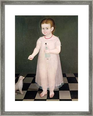 Young Girl With A Doll, 1838 Oil On Canvas Framed Print by Jose Maria Estrada