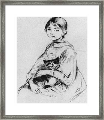 Young Girl With Cat Framed Print by Berthe Morisot