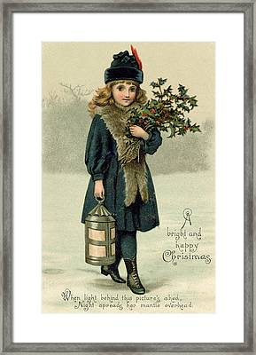 Young Girl With Holly And Lantern Framed Print