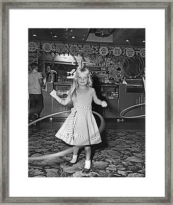Young Girl With Hula Hoop Framed Print by Underwood Archives