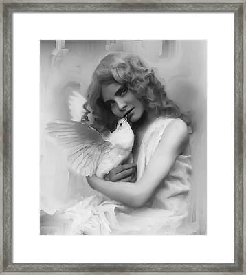 Young Girl With White Bird C. 1870 Framed Print