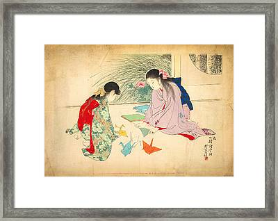 Young Girls Making Paper Cranes Framed Print
