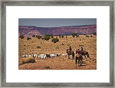 Young Goat Herders Framed Print by Priscilla Burgers