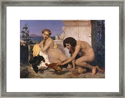 Young Greeks Attending A Cock Fight Framed Print by Jean Leon Gerome