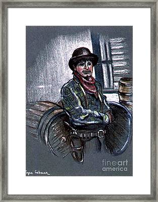 Framed Print featuring the painting Young Gunfighter by Joyce Gebauer