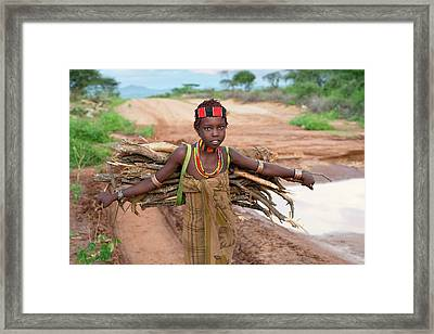 Young Hamar Girl Collecting Fire Wood Framed Print by Tony Camacho