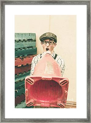 Young Handsome Man Sounding Out Megaphone Call Framed Print