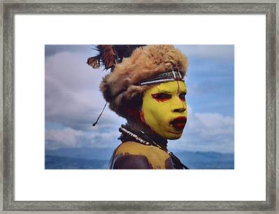 Young Huli Warrior Papua New Guinea Framed Print by Alex King