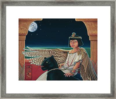 Young Isis Protects The Night Framed Print by Susan Helen Strok