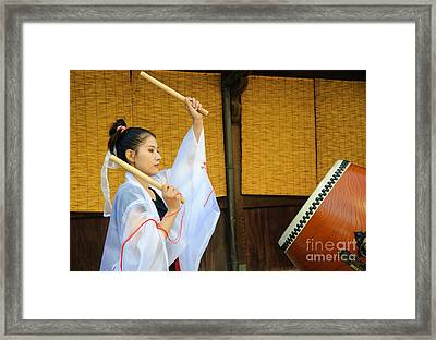 Young Japanese Lady In Period Costume Playing Taiko Drum Framed Print