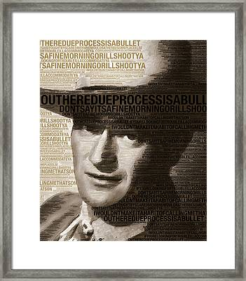 Young John Wayne Painting With Quotes Framed Print by Tony Rubino
