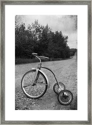 Young Kid Old Road  Framed Print