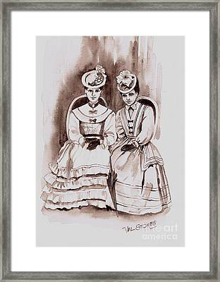 Young Ladies Of A Bygone Age Framed Print by Val Stokes
