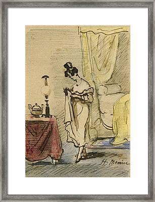 Young Lady At Home Ink & Wc On Paper 2jeune Fille Dans Un Interieur; Intimite; Framed Print by Henri Bonaventure Monnier