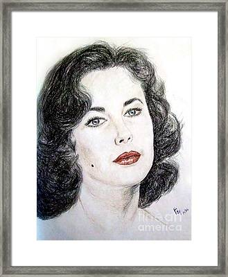 Framed Print featuring the drawing Young Liz Taylor Portrait by Jim Fitzpatrick