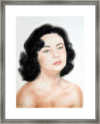 Young Liz Taylor Portrait Remake Framed Print