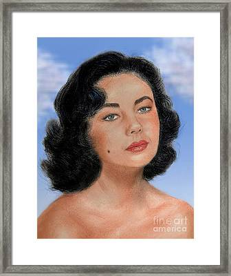 Young Liz Taylor Portrait Remake Version II Framed Print by Jim Fitzpatrick