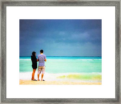 Young Love And The Stormy Sea Framed Print by Mark E Tisdale