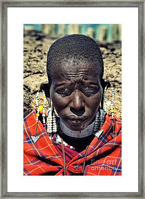 Framed Print featuring the photograph Portrait Of Young Maasai Woman At Ngorongoro Conservation Tanzania by Amyn Nasser