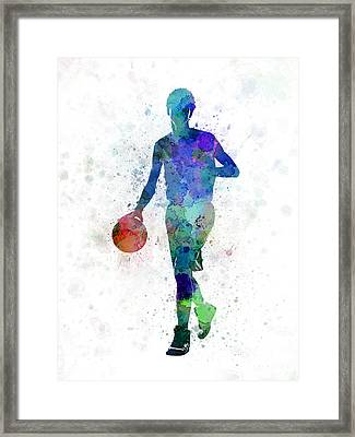 Young Man Basketball Player Dribbling  Framed Print by Pablo Romero