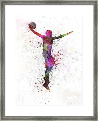 Young Man Basketball Player Dunking Framed Print by Pablo Romero
