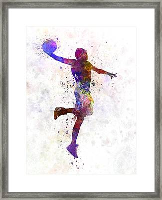 Young Man Basketball Player One Hand Slam Dunk Framed Print by Pablo Romero