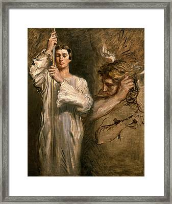 Young Man Holding A Cross  Framed Print by Theodore Chasseriau