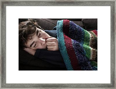 Young Man In Blanket Framed Print