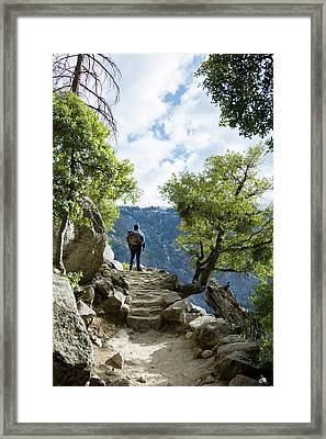 Young Man On Stairs Framed Print by Vwpics - Roberto Lopez