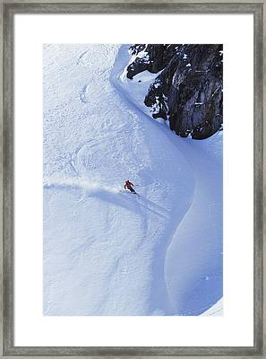 Young Man Skiing On Ungroomed Slope Framed Print by Henry Georgi Photography Inc