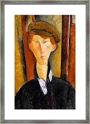 Young Man With Cap Framed Print by Amedeo Modigliani