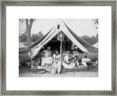 Young Men On A Camp Out Framed Print by Pach Bros.